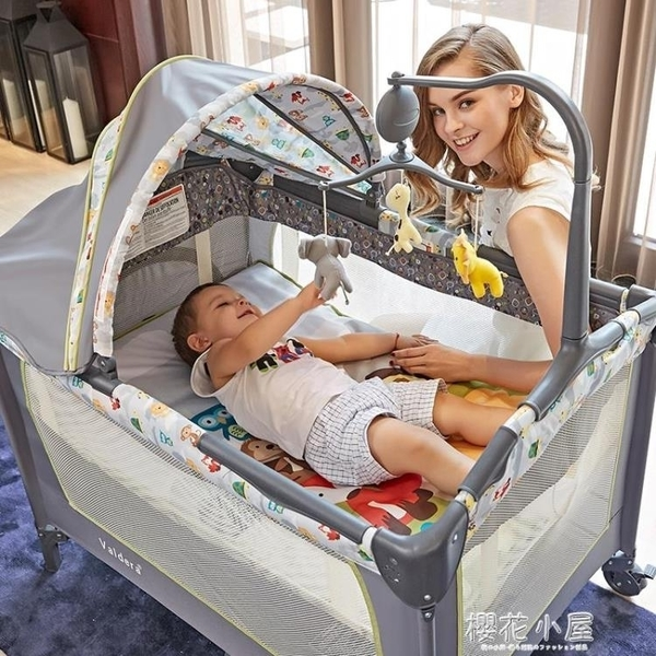 valdera便攜式可折疊嬰兒床多功能寶寶床bb床新生兒游戲床送蚊帳QM『櫻花小屋』