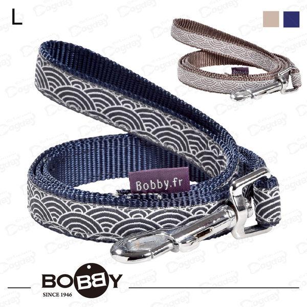 狗日子法國《BOBBY》和風拉繩L號 藍/灰 日式時尚新設計 適合小型犬 拉繩 牽繩