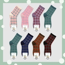 韓國進口批發秋冬新品甜美格子棉襪時尚百搭學院風女士中筒襪子潮