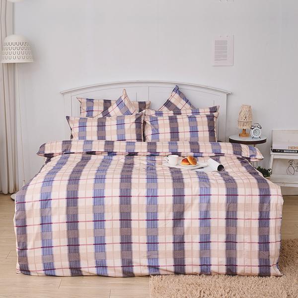 床包兩用被組 / 雙人加大【伯利格紋】含兩件枕套 100%精梳棉 戀家小舖台灣製AAS315