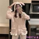 加厚珊瑚絨木耳邊家居服可愛小兔兔耳朵睡衣視頻『Sweet家居』