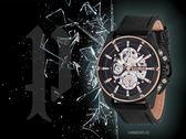 【時間道】POLICE時尚鏤空機械感腕錶/黑面玫瑰金刻黑皮(14688JSBS-02)免運費