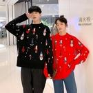 情侶裝 圣誕節雪人卡通套頭毛衣外穿2021春新款寬鬆慵懶風針織衫【快速出貨八折鉅惠】