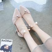 百搭一字扣貓跟鞋女新款尖頭細跟5cm小清新高跟鞋少女伴娘鞋『伊莎公主』