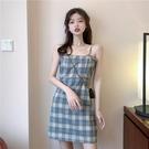 洋裝 吊帶連身裙女夏裝格子法式 輕熟風A字短裙150CM-Ballet朵朵