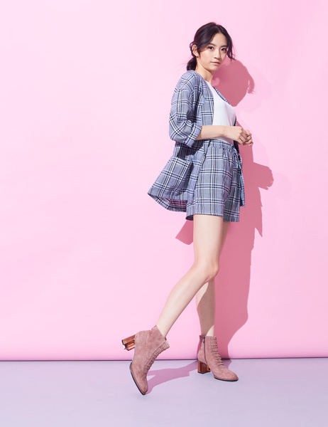 ★2019秋冬★Keeley Ann極簡魅力 假綁帶全真皮雙拼琥珀跟短靴(粉紅色) -Ann系列