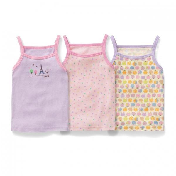 背心 Japan Imports  女童細肩帶上衣 / 無袖上衣 / 背心 3件組 巴黎鐵塔
