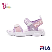 FILA童鞋 女童涼鞋 運動涼鞋 輕量涼鞋 魔鬼氈 雙帶涼鞋 兒童涼鞋 R7631#粉紫◆OSOME奧森鞋業