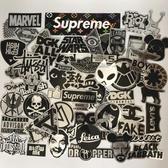 56張仿金屬潮牌貼紙行李箱潮流黑色logo創意防水個性耐磨電腦貼畫 遇見初晴