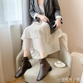 韓版馬丁靴秋冬新款方頭裸靴后拉錬短筒低跟瘦瘦靴復古馬丁靴短靴 安妮塔小鋪
