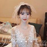 新娘超仙頭飾日韓式網紗蝴蝶結發飾短頭紗飾品婚紗森女  優尚良品