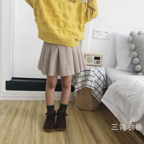 韓國2020夏季裝新品女童呢子半身裙百褶兒童短裙洋氣寶寶毛呢裙子
