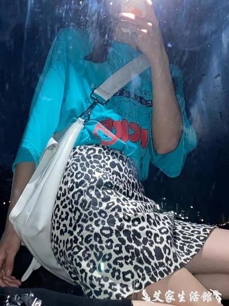 A字裙 豹紋短裙女港味復古高腰顯瘦一步裙a字裙性感包臀半身裙春夏2021 艾家