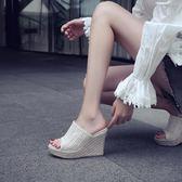 厚底楔形涼鞋女2019新款草編增高涼拖鞋外穿網紅超火半拖超高跟鞋厚底 米希美衣ATF