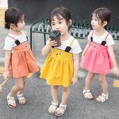 女童夏裝連衣裙小童短袖裙子嬰幼兒女寶寶2019新款洋氣夏拼接兔子