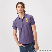 【GIORDANO】男裝勝利獅王漸層刺繡彈力萊卡POLO衫-47 雪花降落傘紫