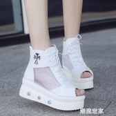 網紗透氣厚底女鞋新款春秋夏季涼鞋拉鏈漆皮PU高跟內增高露趾潮流『潮流世家』