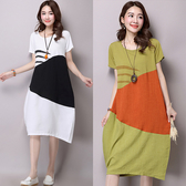 【NUMI】森-兩色撞色拼接棉麻連衣裙-共3色(L-XXL可選) 50081
