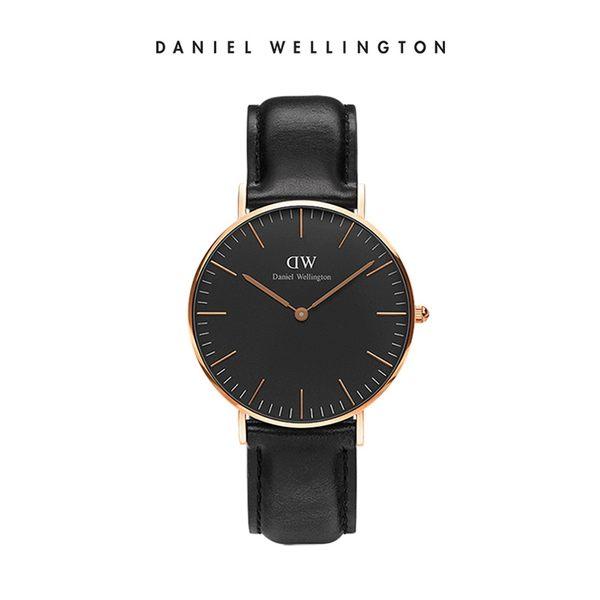 Daniel Wellington DW 手錶 36mm玫瑰金框 Classic Black 爵士黑真皮皮革錶