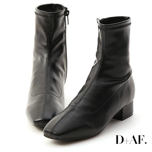 D+AF 人氣指標.素面車線方頭低跟襪靴*黑