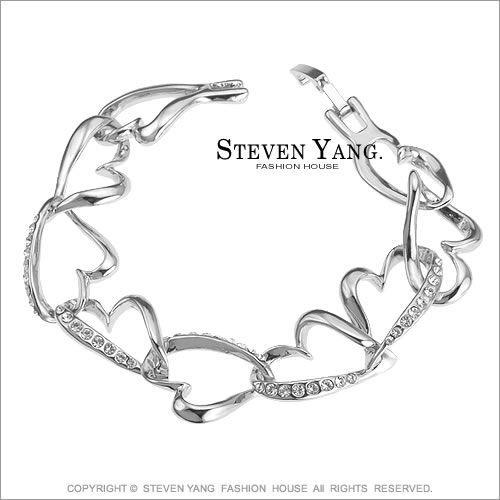 手鍊STEVEN YANG正白K飾「傾心之戀」愛心 銀色款