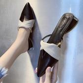 懶人半拖鞋女夏2020新款正韓百搭包頭V口時尚外穿粗跟尖頭穆勒鞋