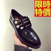 女牛津鞋-低跟紳士風時髦珍珠水鑽金屬開邊女皮鞋65y46【巴黎精品】