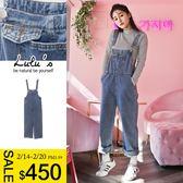 LULUS特價-Q前口袋刷色牛仔吊帶褲S-L-藍  現+預【04090853】