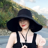 大檐防曬帽子日系純色漁夫帽夏季可折疊太陽帽遮陽帽百搭【大碼百分百】