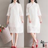 重工刺繡花寬鬆白色連身裙文藝復古中式改良式旗袍裙女【尾牙交換禮物】