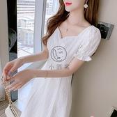 白色雪紡連衣裙子女夏裝法式短袖長版長裙連身裙洋裝【小酒窩】