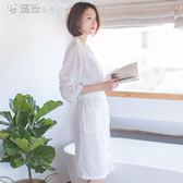 浴袍 浴袍薄款華夫格睡袍男女士中長款情侶七分袖浴衣睡衣家居服 「繽紛創意家居」