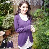 假兩件--優雅女人韻味棉質襯衫領假兩件長袖上衣(黑.紫2L-5L)-X180眼圈熊中大尺碼