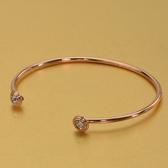 玫瑰金 鑲鑽純銀手環-時尚簡約雙頭鑽生日母親節禮物女飾品3色71ap67【巴黎精品】