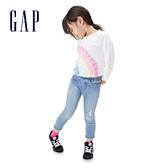 Gap女幼童 碳素軟磨系列 法式圈織彩虹紮染休閒上衣 681248-彩虹紮染
