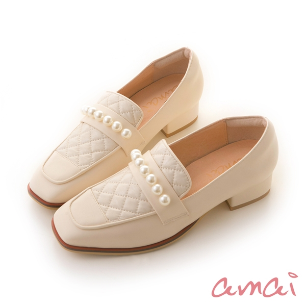 amai質感小香風方頭珍珠樂福鞋 白