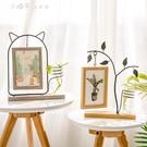 北歐簡約鐵藝相框擺台創意小清新6寸木質相片框 【全館免運】