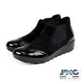 【IMAC】時尚義大利混搭皮革低跟短靴  黑色(206340-BL)