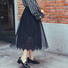 蕾絲半身裙 紗裙 鏤空網紗蓬蓬褶 打底A字裙 小P V2095