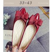 大尺碼女鞋小尺碼女鞋尖頭漆皮立體緞帶蝴蝶結舒適娃娃鞋平底鞋包鞋工作鞋酒紅色(33-43)現貨