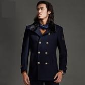 毛呢大衣-羊毛修身翻領毛領中長款男雙排扣外套3色72ar14[巴黎精品]