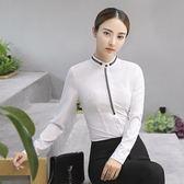 小三衣藏[YS-7025-PF]立領配色圖案OL面試職場長袖襯衫上衣~秋裝新款~