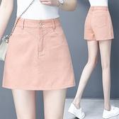牛仔短褲 牛仔短褲裙女夏季新款高腰寬鬆休閒闊腿a字褲包臀假兩件裙褲