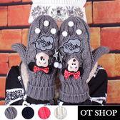 OT SHOP手套‧女款冬日溫暖甜美卡通迪士尼米妮拼接圓點‧台灣製雙層包指手套‧現貨‧G3018