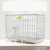 狗籠子小型犬中型犬大型犬兔籠泰迪金毛寵物鍍鉻不銹鋼折疊籠-ifashion YTL