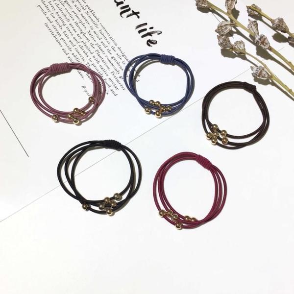 [協貿國際]基礎時尚簡約多層串珠打結髮繩皮筋頭繩髮圈扎頭髮1入