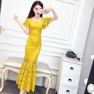 夏季新款韓版女裝氣質名媛方領喇叭袖修身包臀魚尾蕾絲長裙洋裝