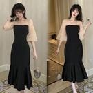 洋裝 大碼女裝遮肚子氣質收腰顯瘦魚尾裙高腰連身裙-Ballet朵朵