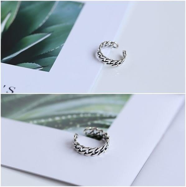 925純銀 個性復古 繩索編織 C型可調整戒指 防抗過敏 不退色