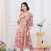 【RED HOUSE 蕾赫斯】V領花布雪紡洋裝